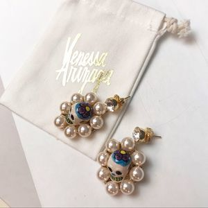 NWT Anthropologie x Venessa Arizaga Skull Earrings